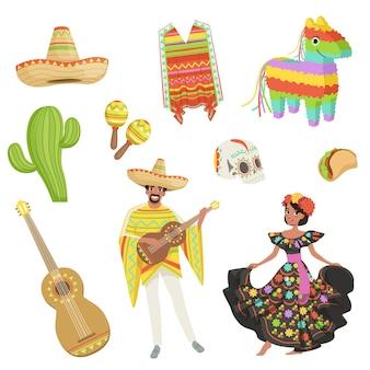 Zestaw symboli kulturowych meksyku. sombrero, kaktus, ponczo, marakasy, taco, pinata, gitara, czaszka. hiszpanie mężczyzna i kobieta w tradycyjnych strojach. płaska konstrukcja