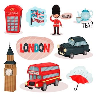 Zestaw symboli kulturowych wielkiej brytanii. czerwona budka telefoniczna, gwardzista, tradycyjna herbata, big ben, transport. podróż do londynu