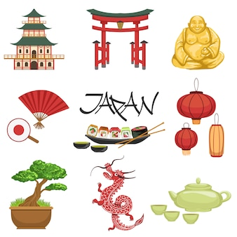 Zestaw symboli kultury japońskiej