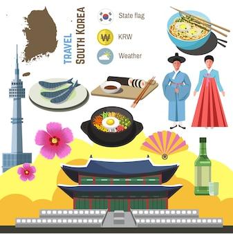 Zestaw symboli kultury korei południowej. podróż w kierunku seulu.