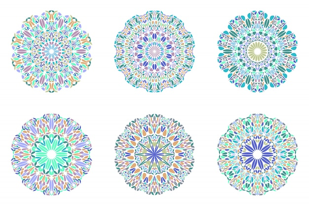 Zestaw symboli kwiecisty geometryczne streszczenie płatek mandali