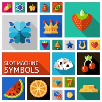 Zestaw symboli maszyn do gry