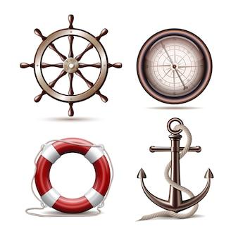 Zestaw symboli morskich na białym tle. ilustracja wektorowa.