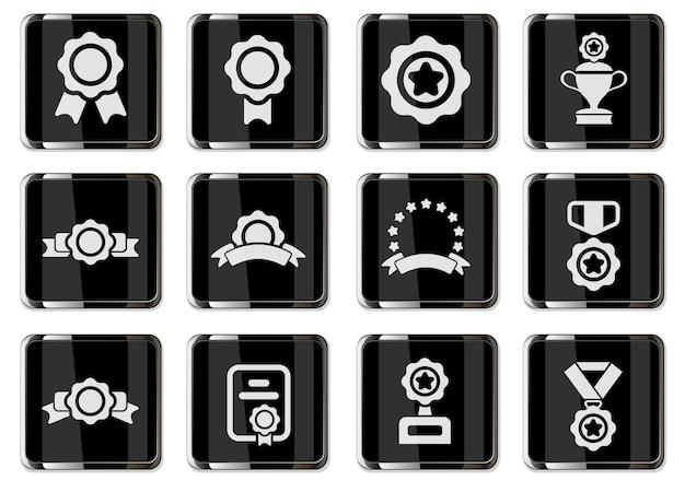 Zestaw symboli nagrody na białym tle dla projektu interfejsu użytkownika. ikony wektorowe