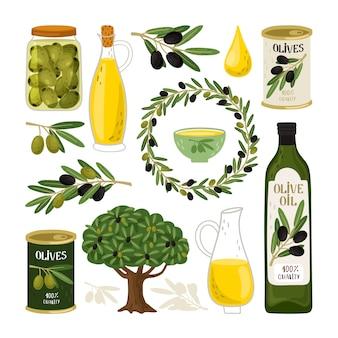 Zestaw symboli oliwek