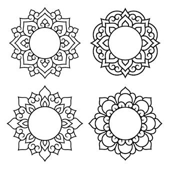 Zestaw symboli ozdobnych mandali. elementy wykrojów do cięcia laserowego i ploterowego, tłoczenia, grawerowania, nadruku na odzieży. ozdoby do rysunków henną w stylu orientalnym.