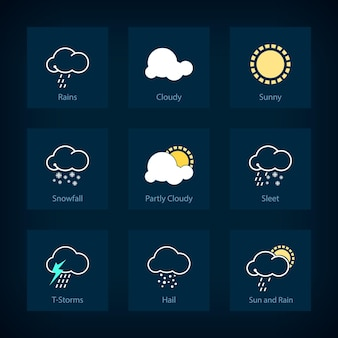 Zestaw symboli pogody, deszcze i pochmurno, słonecznie i opady śniegu, częściowo zachmurzenie i deszcz ze śniegiem, burze t i grad, słońce i deszcz, ilustracji wektorowych