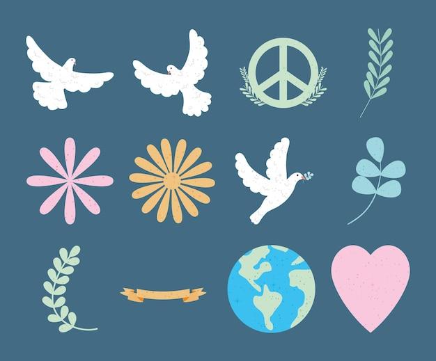 Zestaw symboli pokoju i ziemi
