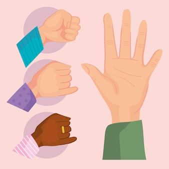 Zestaw symboli rąk przyjaźni