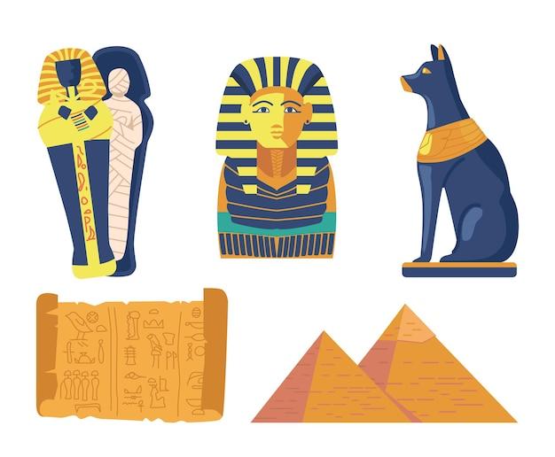 Zestaw symboli religijnych starożytnego egiptu i zabytków mumia w sarkofagu, piramidy egipskie, maska faraona, kot, papirus