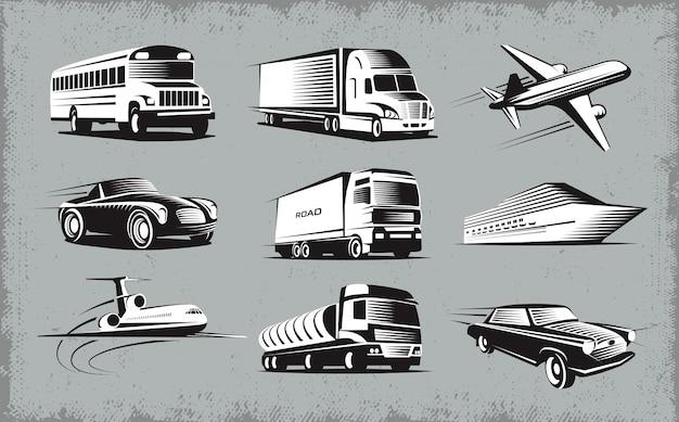 Zestaw symboli różnych trybów transportu