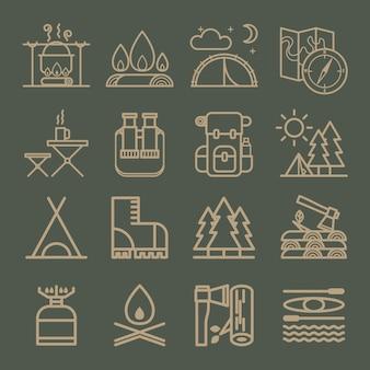 Zestaw symboli sprzętu kempingowego