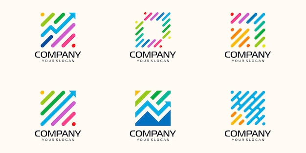 Zestaw symboli strzałka technologia cyfrowa, biotechnologia, tech ikony logo szablon projektu.