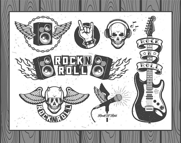 Zestaw symboli wektorowych związanych z rock and rollem