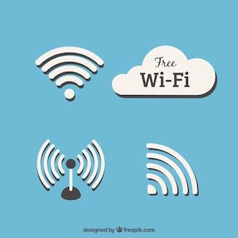 Zestaw symboli wifi w płaskim stylu