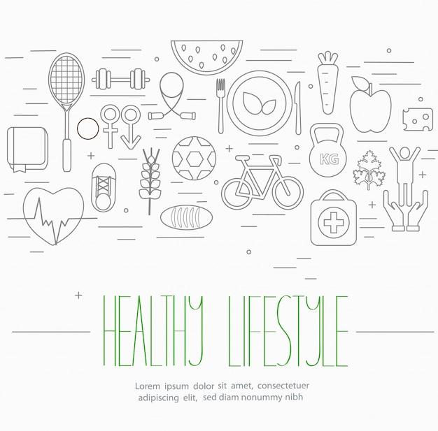 Zestaw symboli zdrowego stylu życia