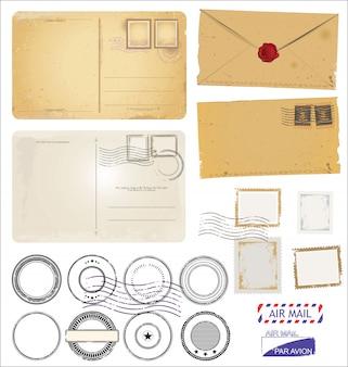 Zestaw symboli znaczków pocztowych