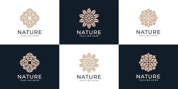 Zestaw symbolu logo kwiatu urody przyrody