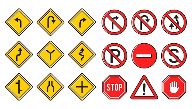 Zestaw symbolu tablicy żółty i czerwony znak drogowy