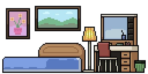 Zestaw sypialni na białym tle sztuki pikseli