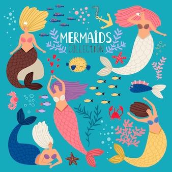 Zestaw syren. syrenka księżniczka, elementy oceanu dziewczyna notatnik, wektor bikini latem pływanie ładne syreny z rybim ogonem