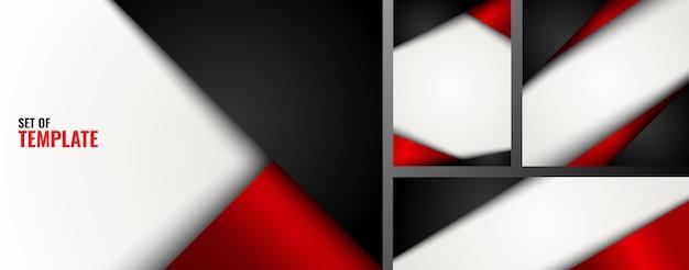 Zestaw szablon czerwony i czarny trójkąt na białym tle.