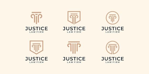 Zestaw szablon graficzny projektu logo sprawiedliwości nowoczesnej firmy prawniczej.
