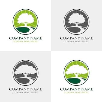 Zestaw szablon logo dąb