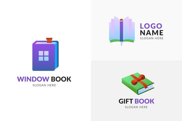 Zestaw szablon logo ładny książki gradientu