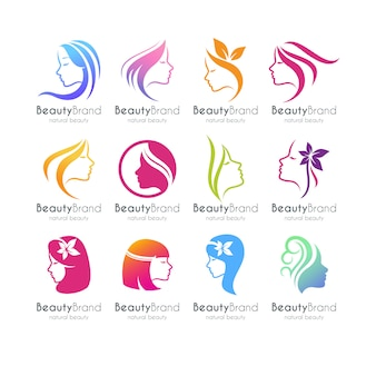 Zestaw szablon logo piękna