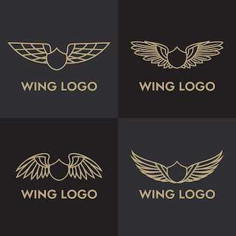 Zestaw szablon logo ptak orzeł i skrzydło