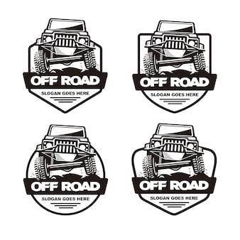 Zestaw Szablon Logo Samochodu Off Road Premium Wektorów