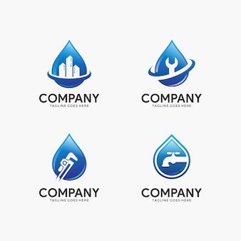 Zestaw szablon projektu logo wody i hydraulika dla twojej firmy