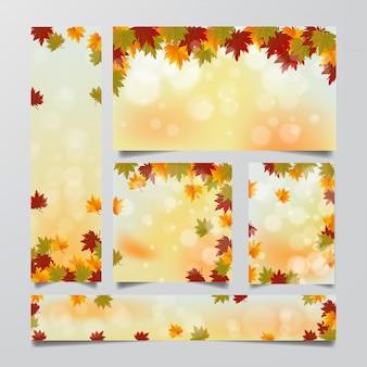 Zestaw szablon transparent tło jesień