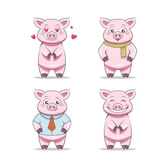 Zestaw szablon wektor ilustracja maskotka świnia