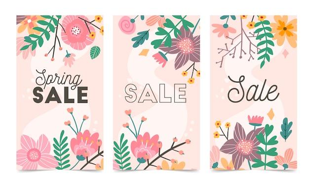 Zestaw szablon wektor wiosennych kwiatów na instagram post, historie