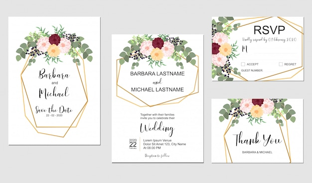 Zestaw szablon zaproszenia ślubne z bukietem kwiatów i złotej ramie