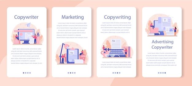 Zestaw szablonów aplikacji mobilnych copywriter.