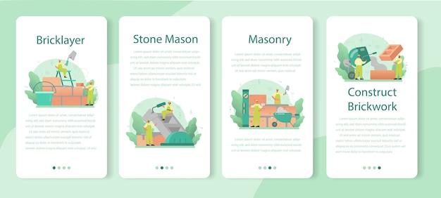 Zestaw szablonów aplikacji mobilnych murarza.