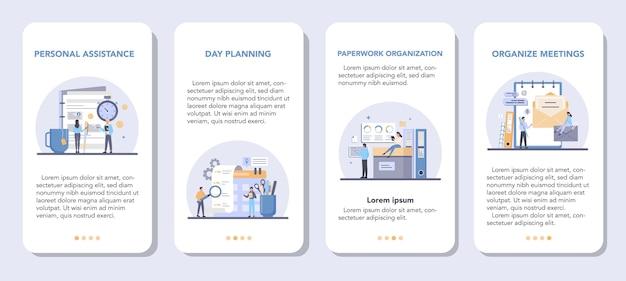 Zestaw szablonów aplikacji mobilnych osobisty asystent biznesmena.