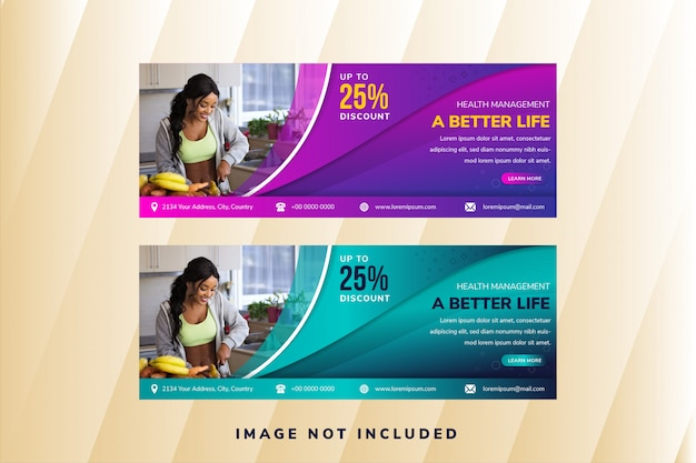 Zestaw szablonów banera internetowego lub mediów społecznościowych z elementami krzywej do zdjęcia. uniwersalny projekt do zarządzania zdrowiem. fioletowy i niebieski gradient. wzór linii fali przezroczystości