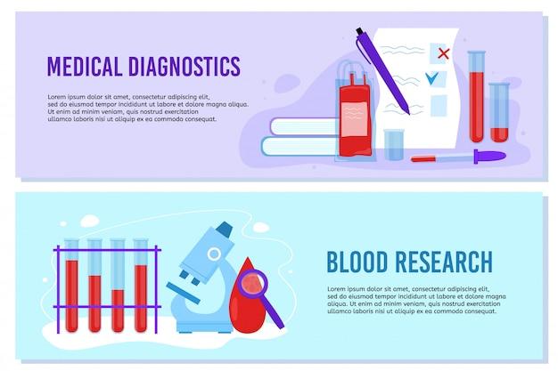 Zestaw szablonów banerów badań krwi i diagnostyki medycznej