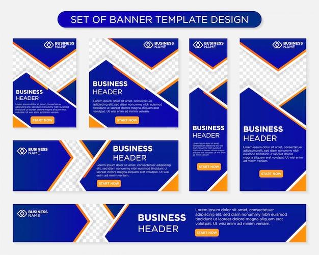 Zestaw szablonów banerów biznesowych projektowania różnych rozmiarów formatu