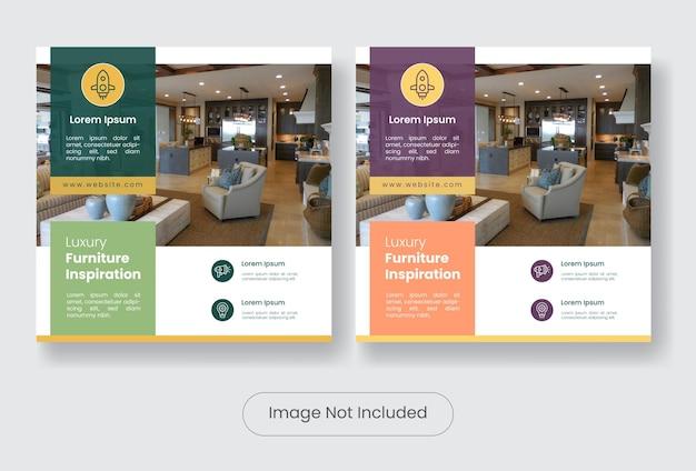 Zestaw szablonów banerów do projektowania mebli w mediach społecznościowych