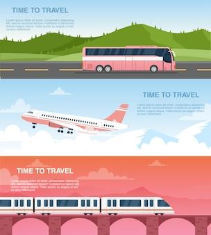 Zestaw szablonów banerów internetowych czas podróży. pakiet projektów reklam agencji turystycznych.