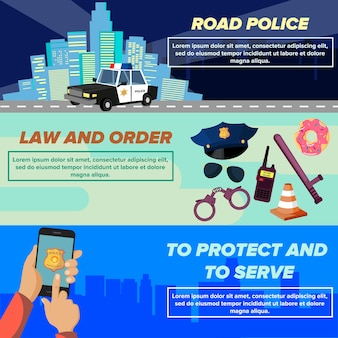 Zestaw szablonów banerów internetowych policji płaski wektor zestaw.