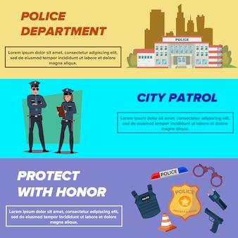 Zestaw szablonów banerów internetowych policji