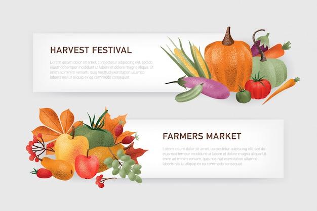 Zestaw szablonów banerów internetowych poziomych z miejscem na tekst ozdobiony stosem opadłych liści jesienią