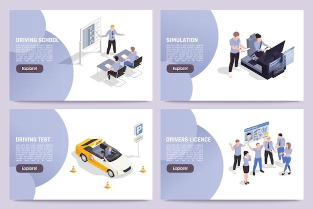 Zestaw szablonów banerów internetowych prawa jazdy online