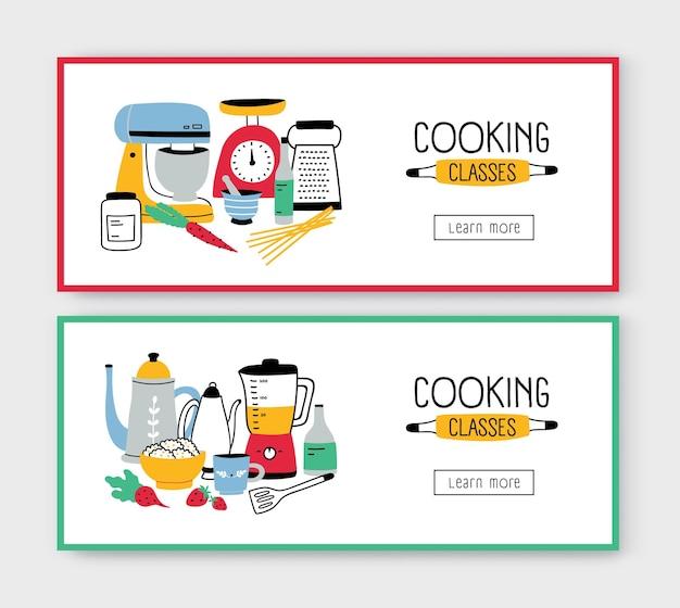 Zestaw szablonów banerów internetowych z przyborami kuchennymi, narzędziami do przygotowywania posiłków i miejscem na tekst